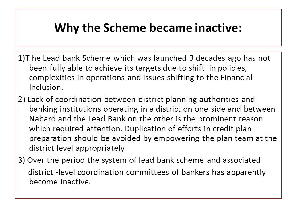 Why the Scheme became inactive: