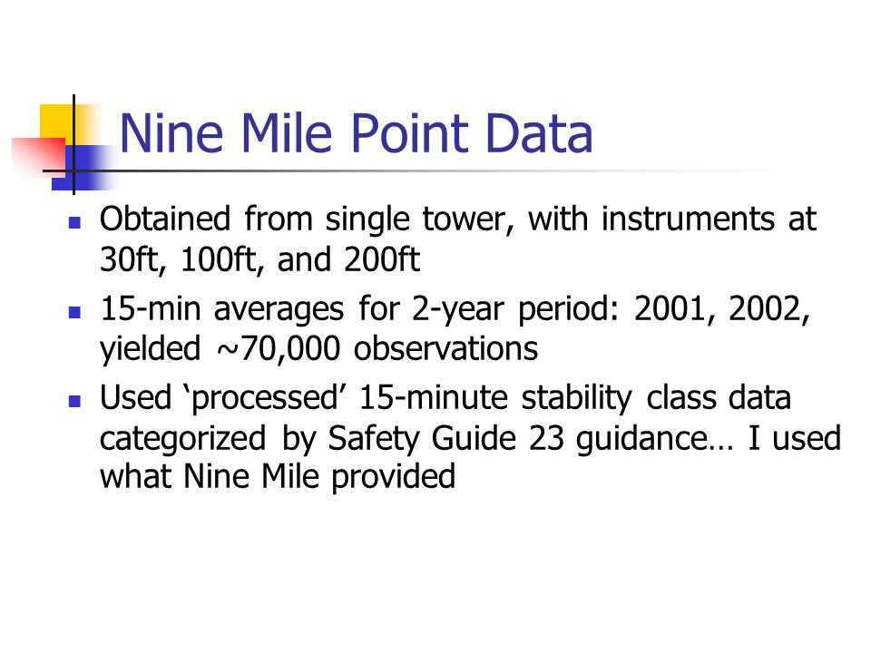 Nine Mile Point Data Obtained from single tower, with instruments at 30ft, 100ft, and 200ft.