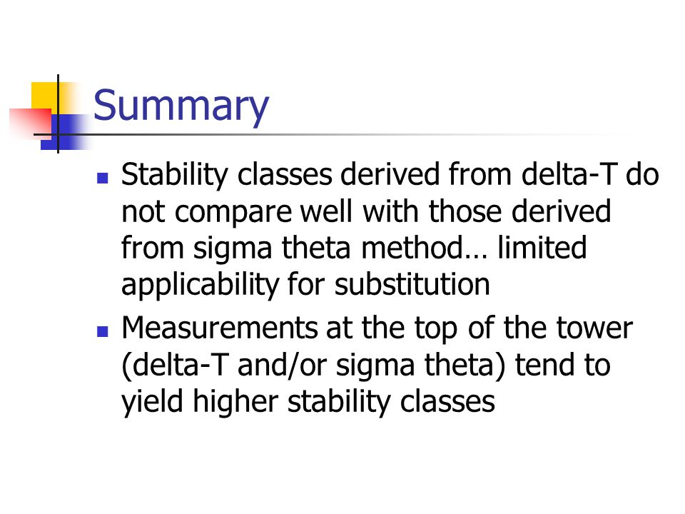 Summary Stability classes derived from delta-T do not compare well with those derived from sigma theta method… limited applicability for substitution.
