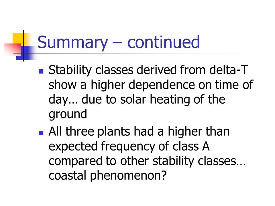Summary – continued Stability classes derived from delta-T show a higher dependence on time of day… due to solar heating of the ground.