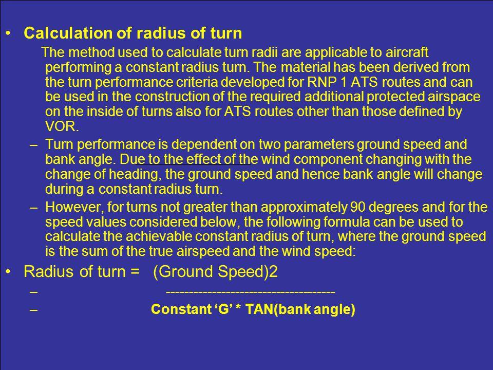 Calculation of radius of turn