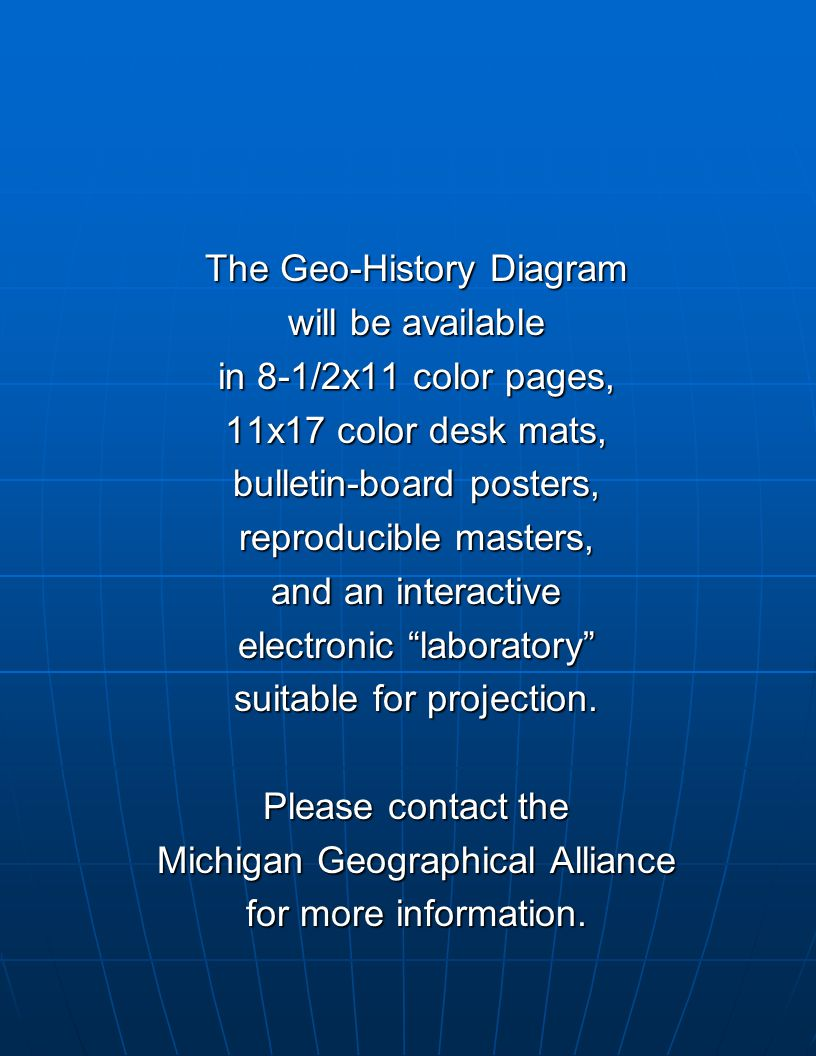 The Geo-History Diagram will be available in 8-1/2x11 color pages,