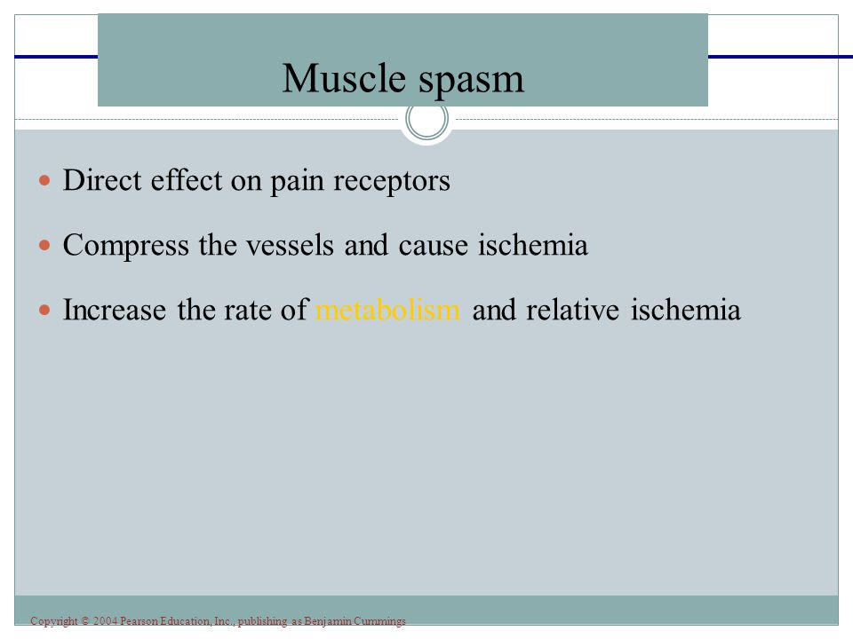 Muscle spasm Direct effect on pain receptors
