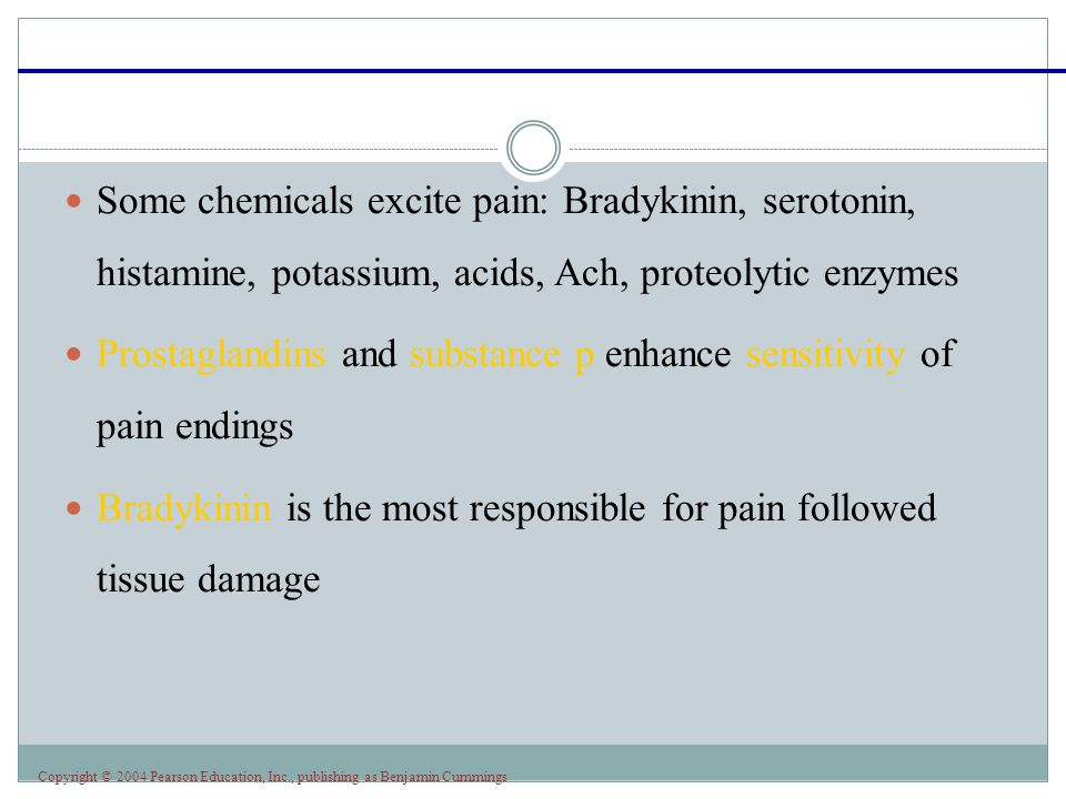 Some chemicals excite pain: Bradykinin, serotonin, histamine, potassium, acids, Ach, proteolytic enzymes