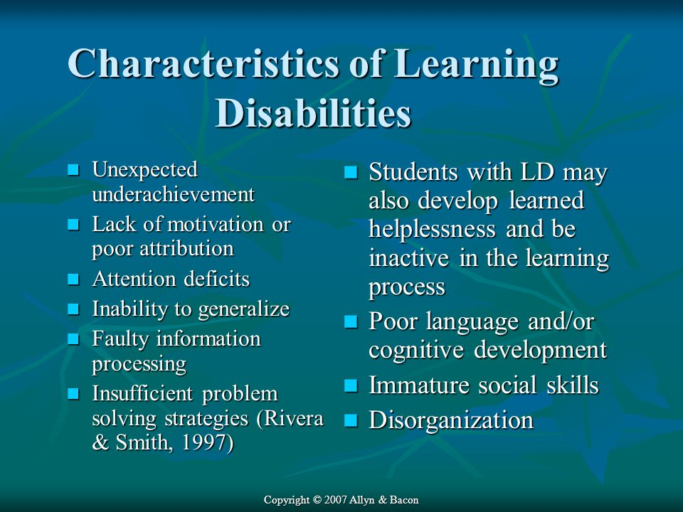 Characteristics of Learning Disabilities