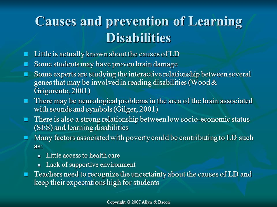 Causes and prevention of Learning Disabilities