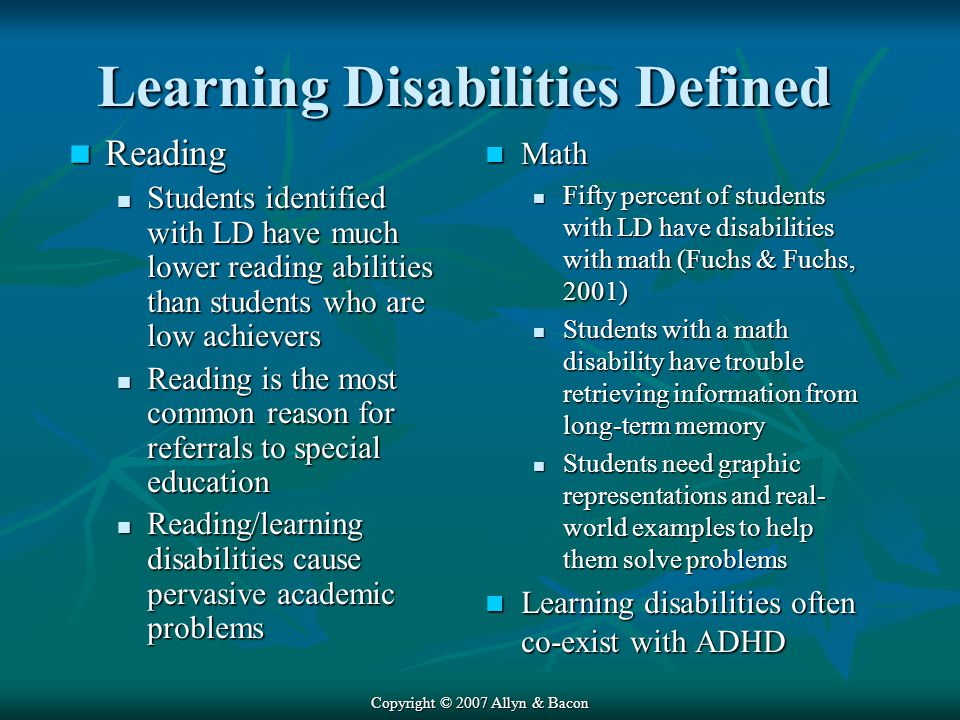 Learning Disabilities Defined