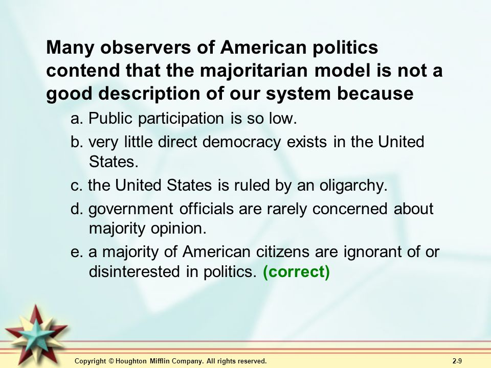 Many observers of American politics contend that the majoritarian model is not a good description of our system because