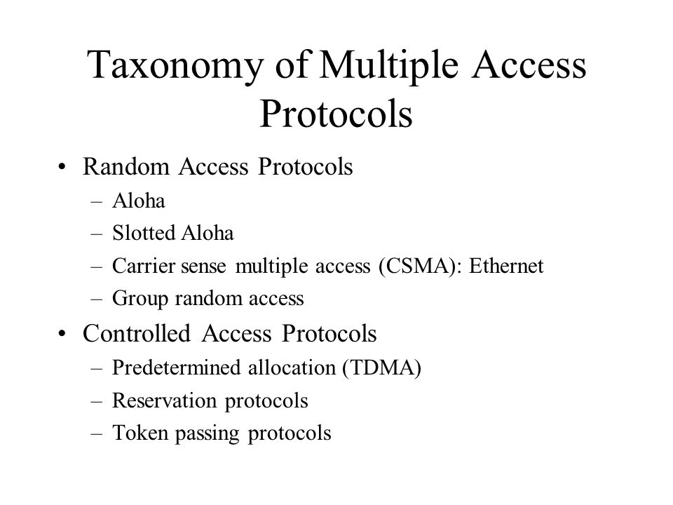 Taxonomy of Multiple Access Protocols