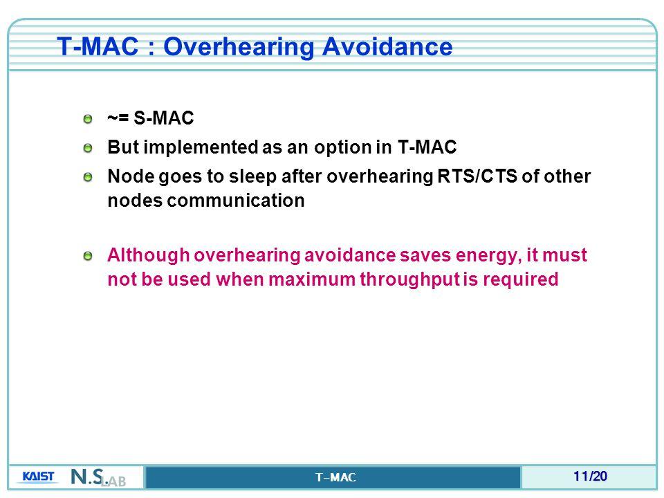 T-MAC : Overhearing Avoidance
