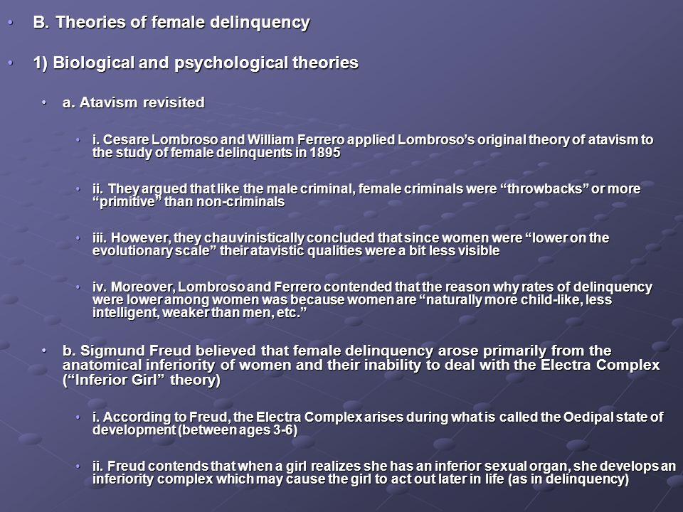 B. Theories of female delinquency