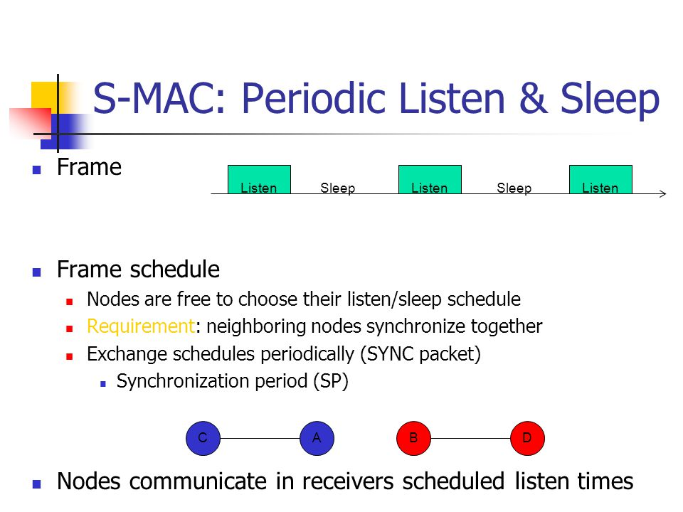 S-MAC: Periodic Listen & Sleep