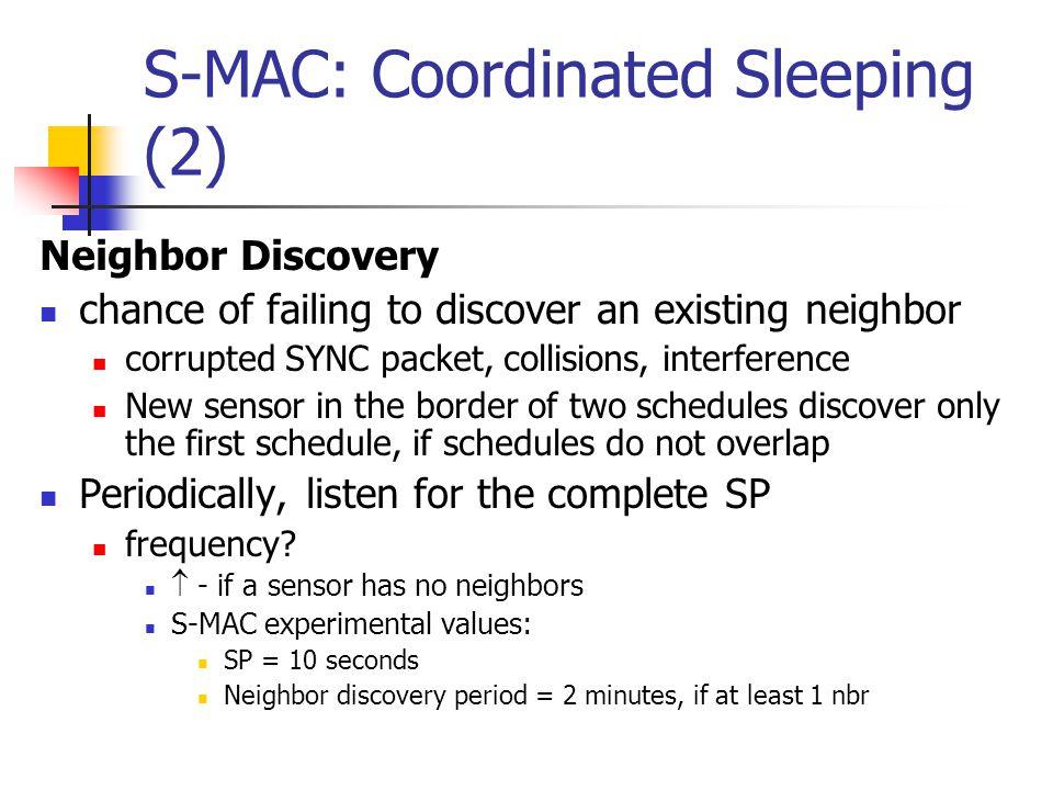 S-MAC: Coordinated Sleeping (2)