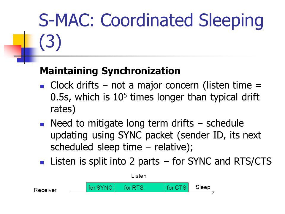 S-MAC: Coordinated Sleeping (3)