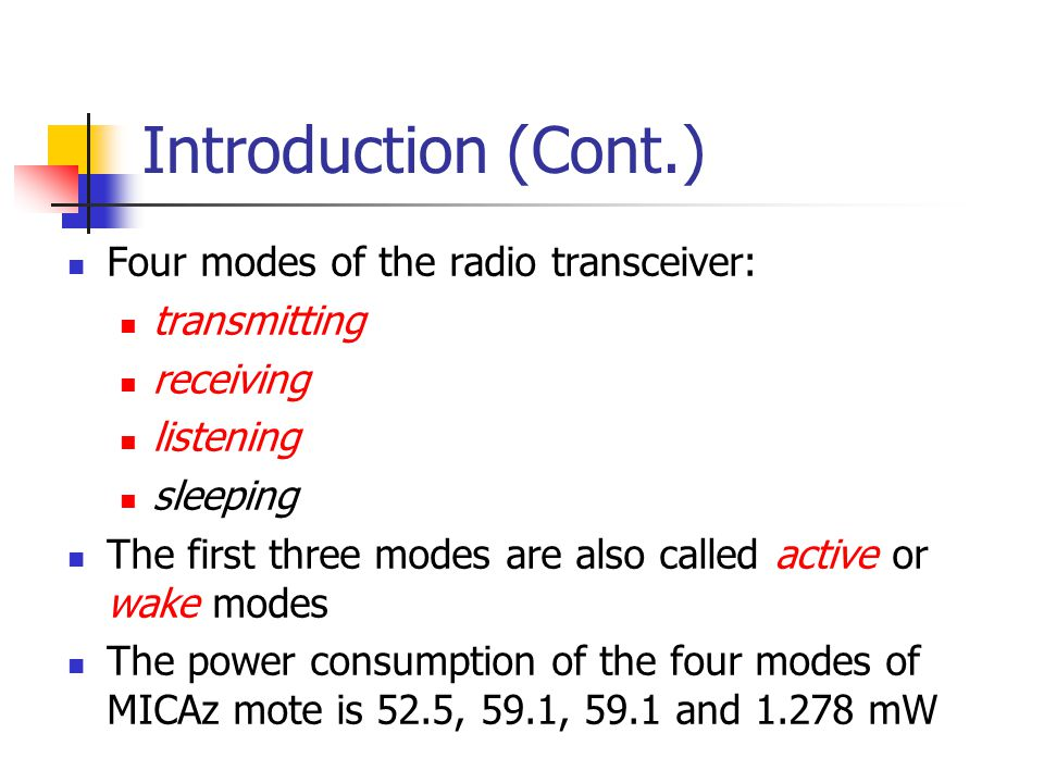 Introduction (Cont.) Four modes of the radio transceiver: transmitting
