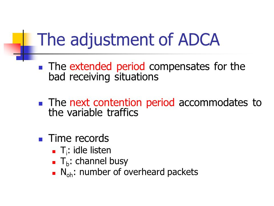 The adjustment of ADCA The extended period compensates for the bad receiving situations.