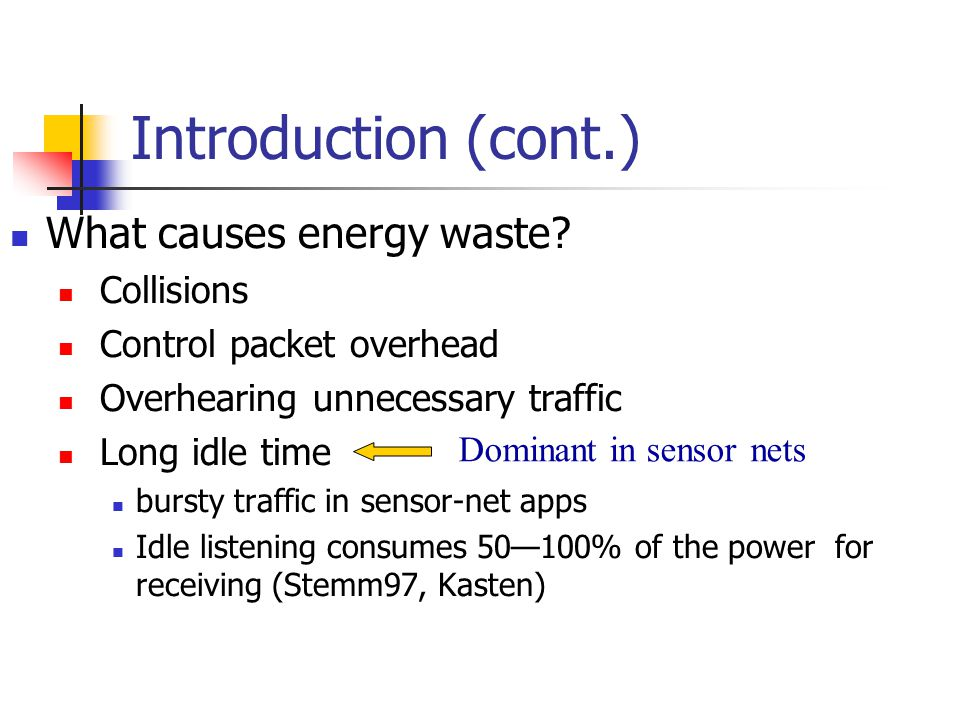 Introduction (cont.) Dominant in sensor nets What causes energy waste