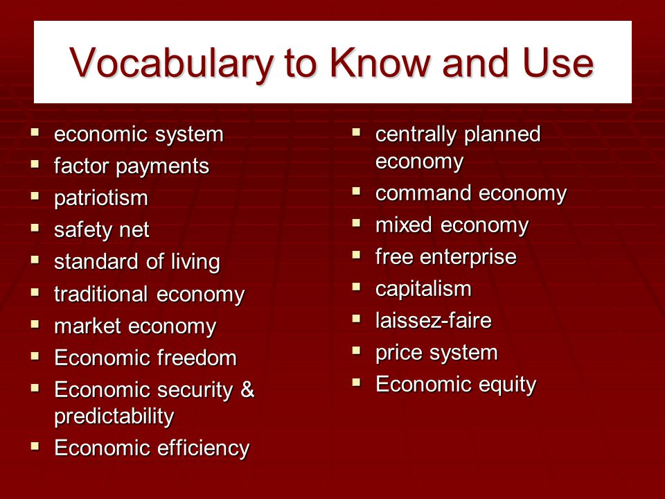 Vocabulary to Know and Use