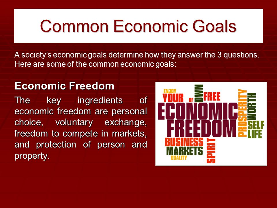 Common Economic Goals Economic Freedom