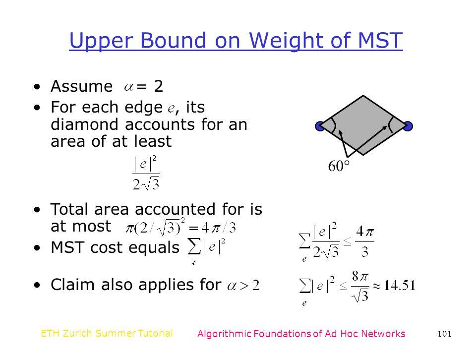 Upper Bound on Weight of MST