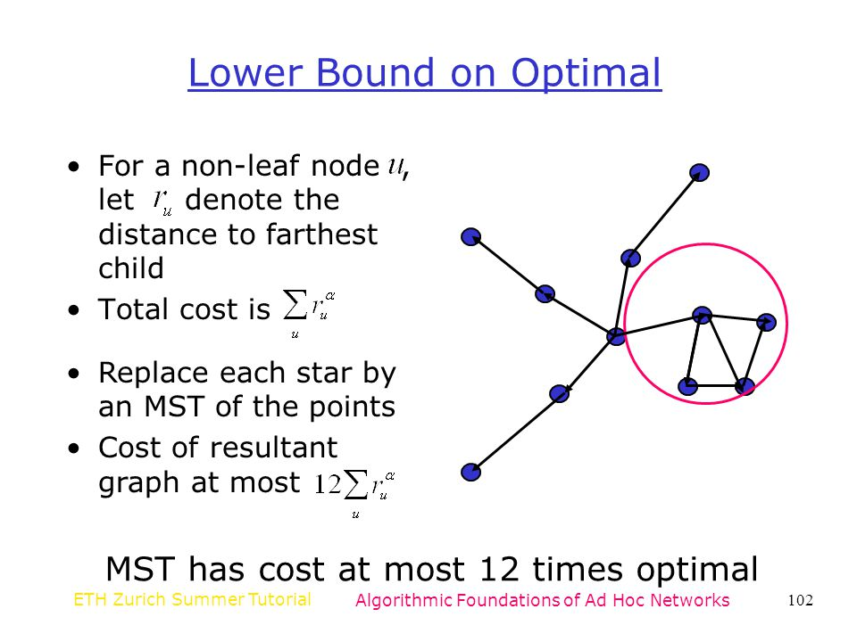 Lower Bound on Optimal MST has cost at most 12 times optimal