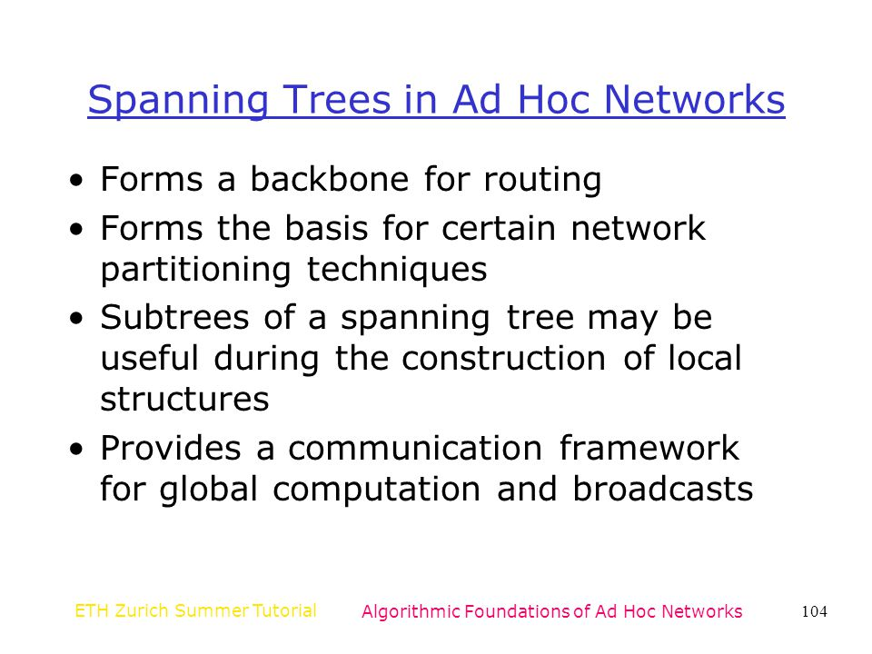 Spanning Trees in Ad Hoc Networks