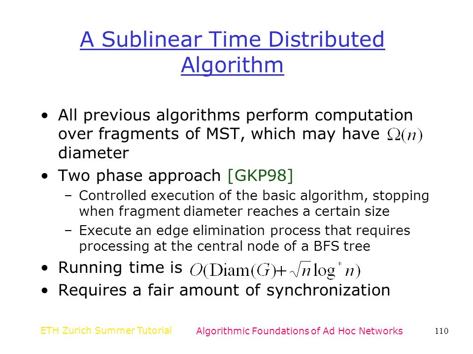 A Sublinear Time Distributed Algorithm