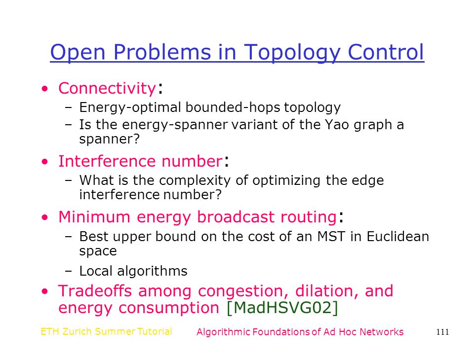 Open Problems in Topology Control