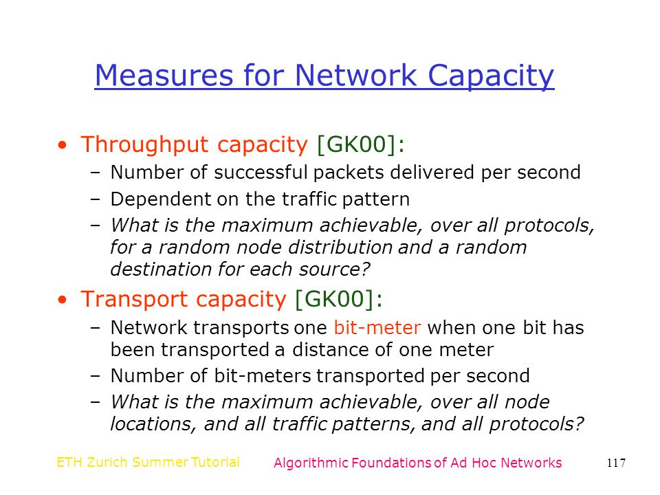 Measures for Network Capacity