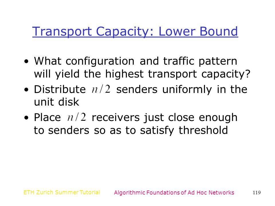 Transport Capacity: Lower Bound