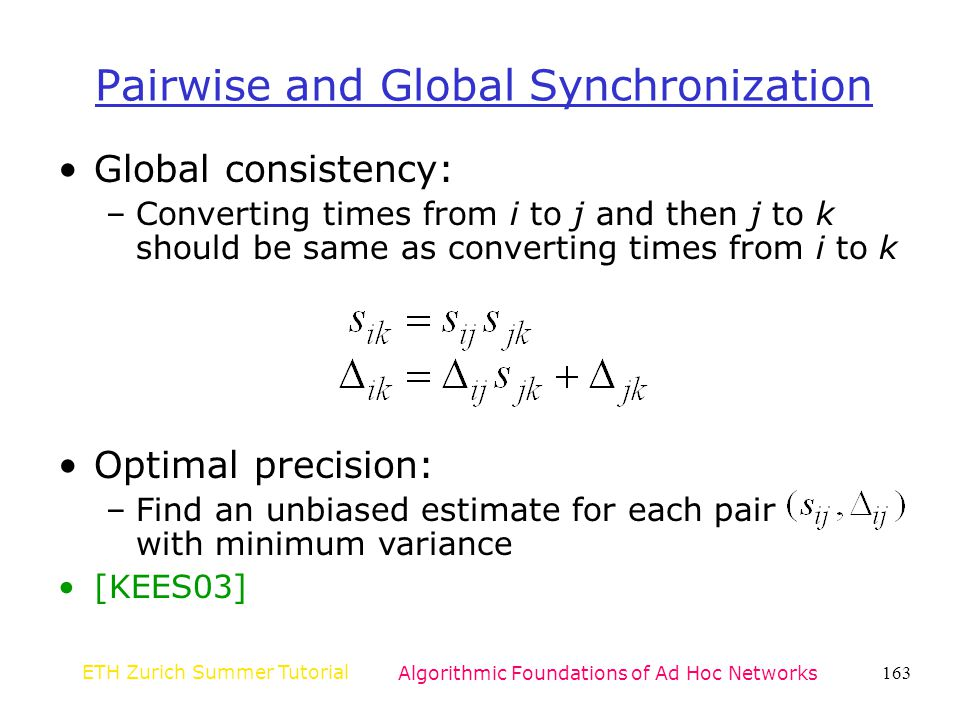 Pairwise and Global Synchronization