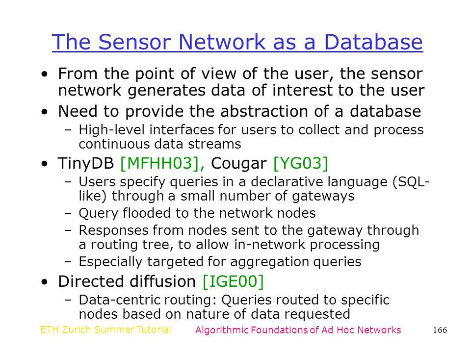 The Sensor Network as a Database