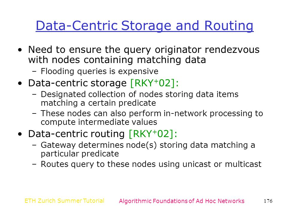 Data-Centric Storage and Routing