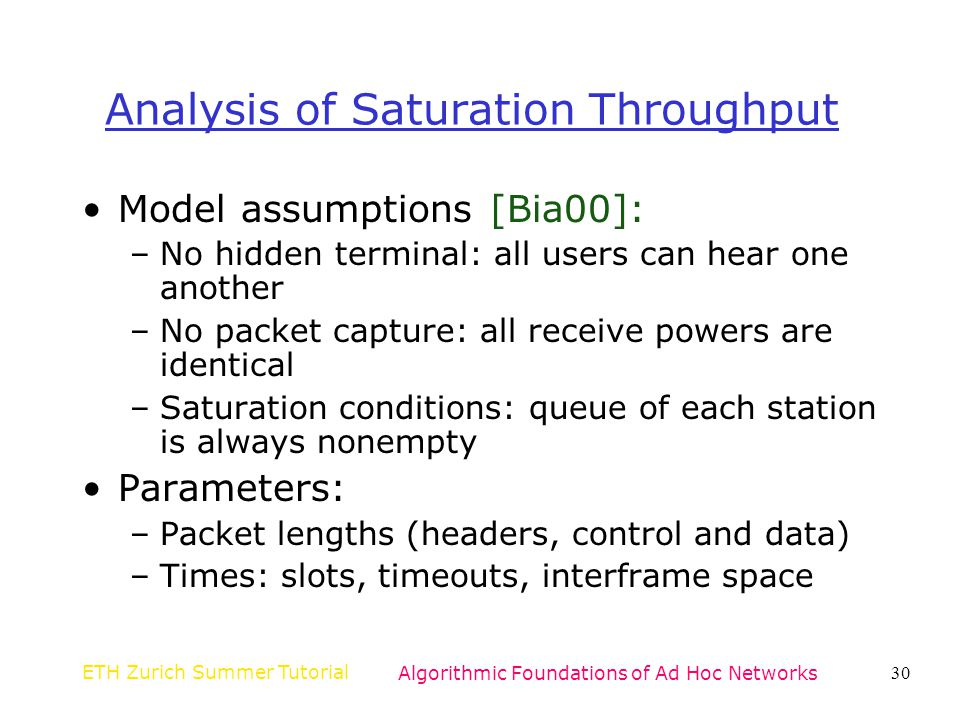 Analysis of Saturation Throughput