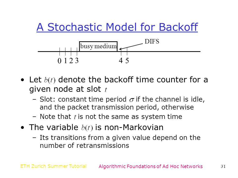 A Stochastic Model for Backoff