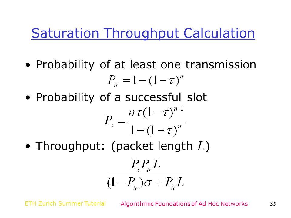 Saturation Throughput Calculation