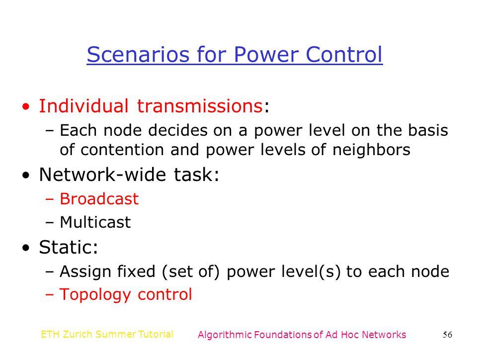 Scenarios for Power Control
