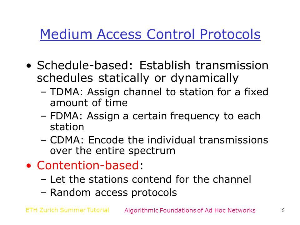 Medium Access Control Protocols