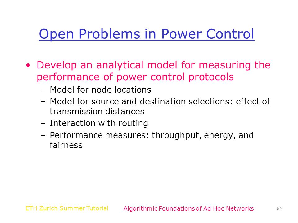 Open Problems in Power Control