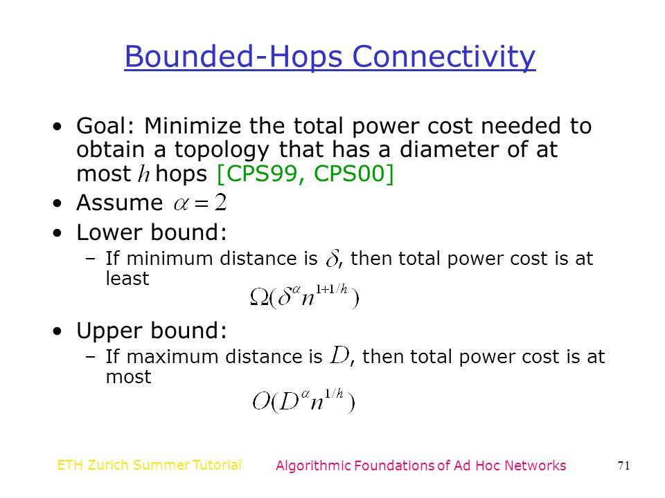Bounded-Hops Connectivity