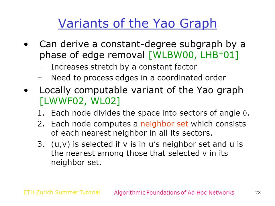 Variants of the Yao Graph