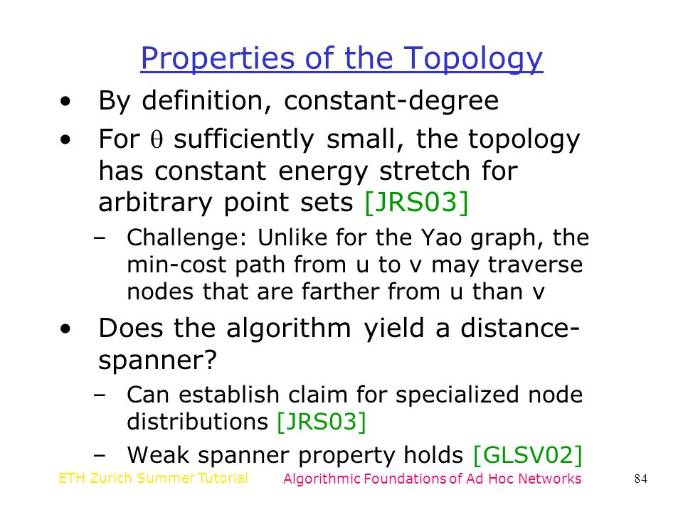 Properties of the Topology