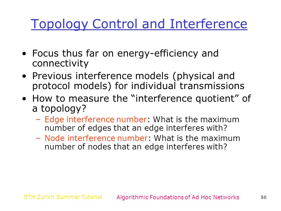 Topology Control and Interference
