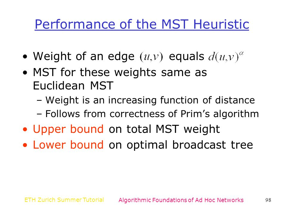 Performance of the MST Heuristic