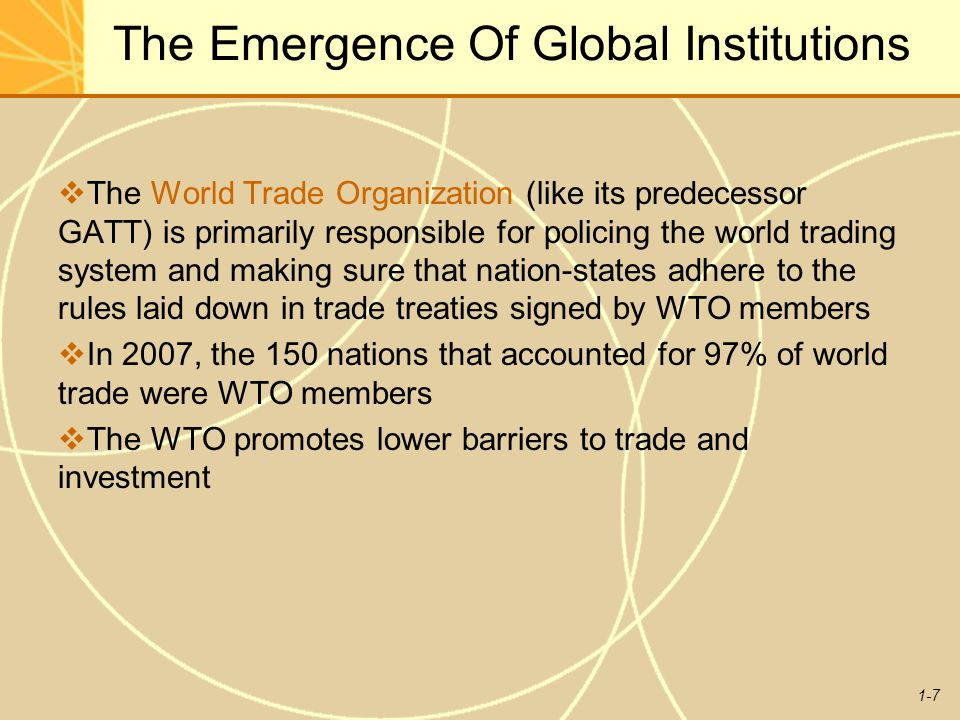 The Emergence Of Global Institutions