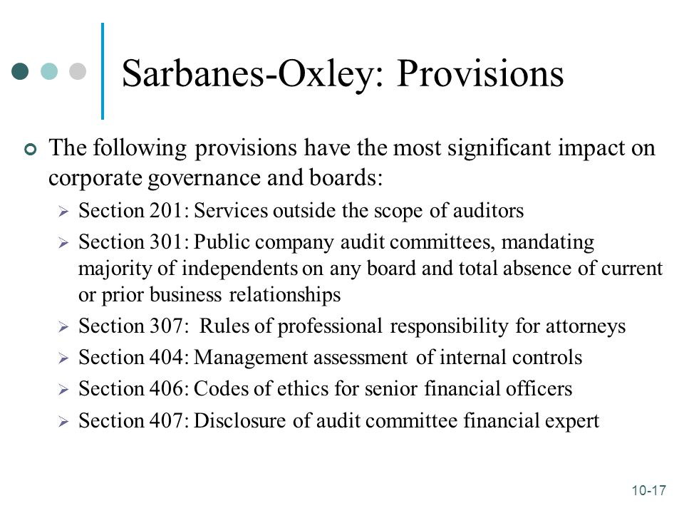 sarbanes oxley act sarbanes oxley act The sarbanes oxley act in summary financial analysts agree that the sarbanes oxley act (also called the corporate corruptions bill), is one of the most significant pieces of legislation to address america's securities industry in decades.