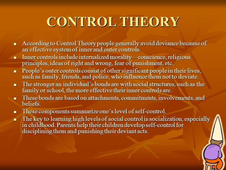CONTROL THEORY According to Control Theory people generally avoid deviance because of an effective system of inner and outer controls.