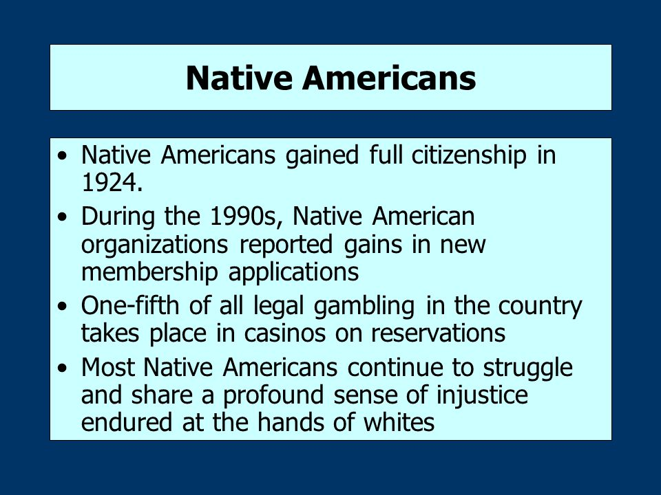 Native Americans Native Americans gained full citizenship in 1924.