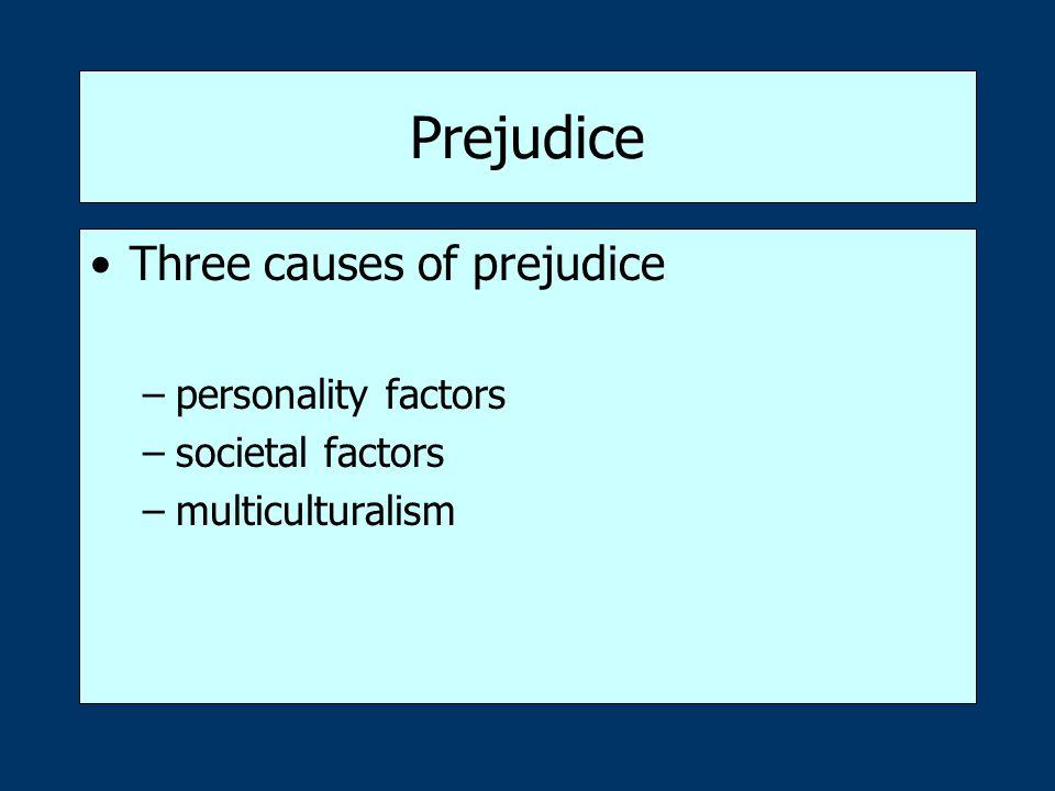 Prejudice Three causes of prejudice personality factors