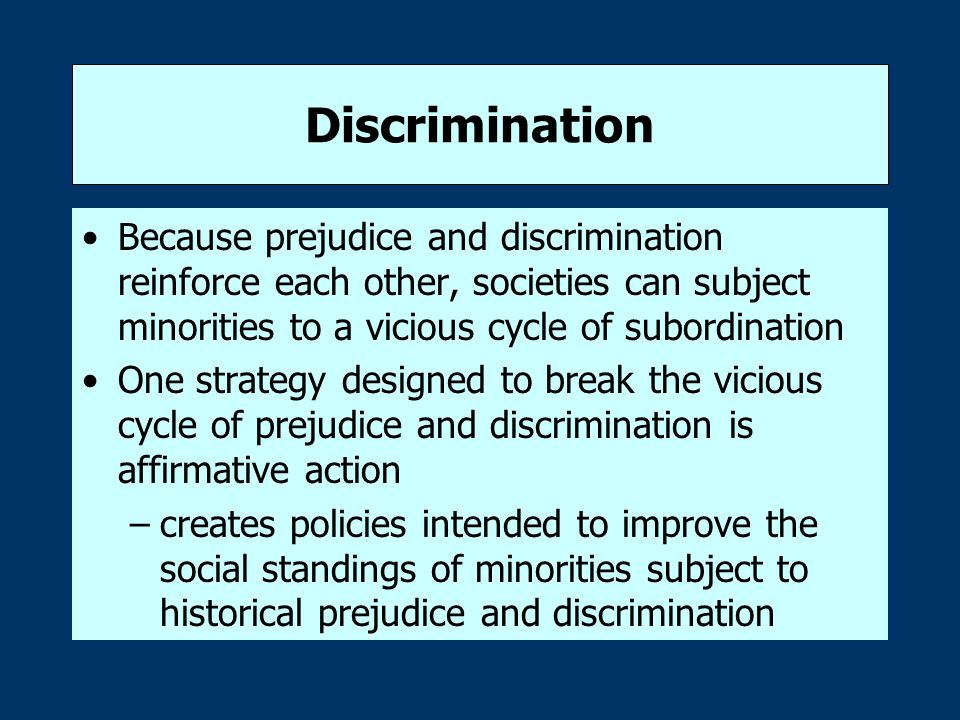 Discrimination Because prejudice and discrimination reinforce each other, societies can subject minorities to a vicious cycle of subordination.